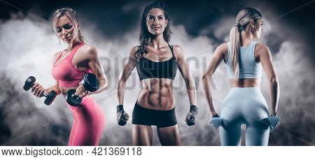 The Image Of Three Sports Sexy Girls On A Smoky Background. Fitness And Bodybuilding Concept. High Q