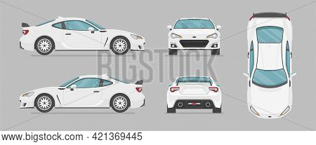 Vector White Sport Car. Side View, Front View, Back View, Top View. Cartoon Flat Illustration, Car F