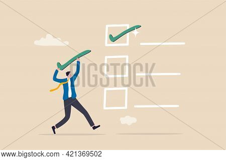 Checklist For Completed Tasks, Project Checkbox Or Achievement List And Approval Document Concept, B