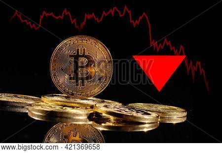 Crypto Collapse. Golden Coins With Bitcoin Logo Drop At Bear Market. Pullback Of Leader Cryptocurren