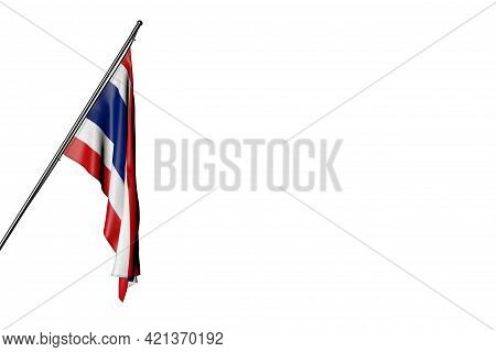 Pretty Thailand Flag Hangs On A In Corner Pole Isolated On White - Any Occasion Flag 3d Illustration
