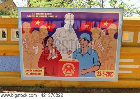 Hoi An, Vietnam, May 23, 2021: Election Poster At The Entrance Of The Dinh Cam Pho Temple Enabled To