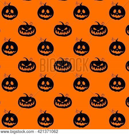 Halloween Pattern With Black Silhouette Pumpkin. Vector Halloween Holiday Pattern, Black And Orange