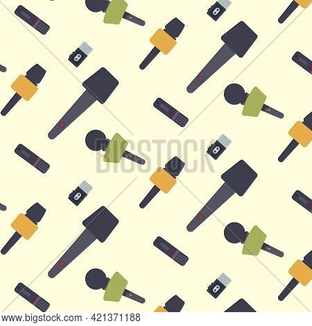 Microphone And Report Journalist Seamless Pattern. News Pattern, Concept Journalism, Mic Backdrop An
