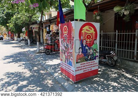 Hoi An, Vietnam, May 23, 2021: Announcement Panel Of The Xv Parliamentary Elections In Tran Hung Dao