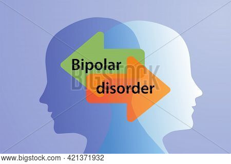 A Metaphor For Mental Bipolar Disorder. Two-faced. Split Personality. The Concept Of Mood Disorder.