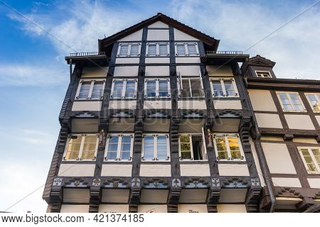 Facade Of A Historic Half Timbered House In Braunschweig, Germany
