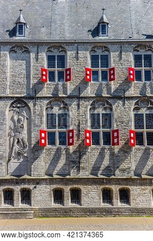 Windows And Red Shutters On The Historic Town Hall Of Gouda, Netherlands