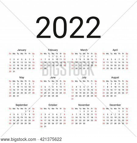 Calendar 2022 Year. Vector. Week Starts Sunday. Simple Calender Layout. Desk Planer Template With 12
