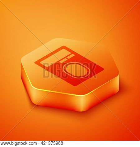 Isometric Human Hand Scanning With Finger Scan On Access Control Machine Icon Isolated On Orange Bac