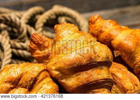 Freshly Baked Golden Brown French Croissants. Tasty Baked Croissants, Warm Buttery Croissants And Ba