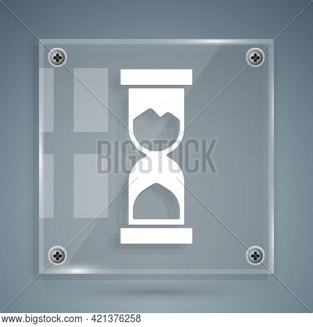 White Old Hourglass With Flowing Sand Icon Isolated On Grey Background. Sand Clock Sign. Business An