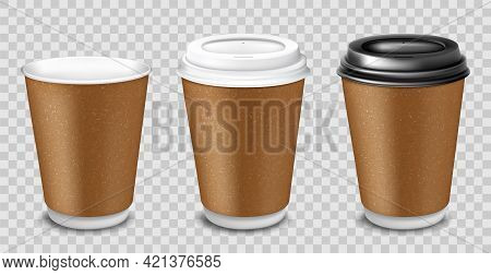Set Of Realistic Blank Mock Up Paper Cups With Plastic Lid. Coffee To Go, Take Out Mug. Vector 3d Il