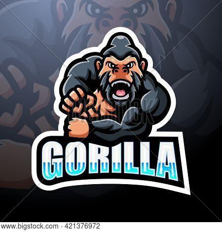 Vector Illustration Of Gorilla Mascot Esport Logo Design