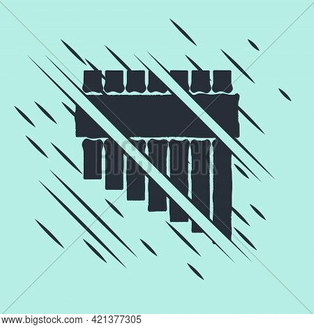 Black Pan Flute Icon Isolated On Green Background. Traditional Peruvian Musical Instrument. Zampona.