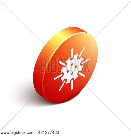 Isometric Naval Mine Icon Isolated On White Background. Sea Bomb. Orange Circle Button. Vector