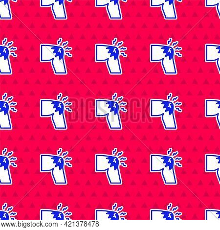Blue Joint Pain, Knee Pain Icon Isolated Seamless Pattern On Red Background. Orthopedic Medical. Dis