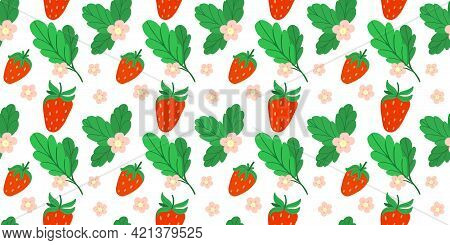 Strawberry Seamless Background. Hand Drawn Fresh Forest Or Garden Berry. Juicy Berries, Bush With Gr