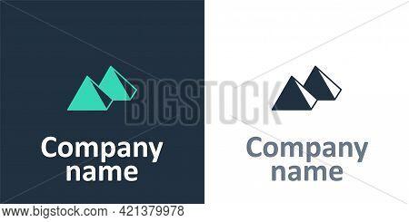Logotype Egypt Pyramids Icon Isolated On White Background. Symbol Of Ancient Egypt. Logo Design Temp