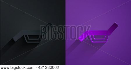 Paper Cut Sunbed Icon Isolated On Black On Purple Background. Sun Lounger. Paper Art Style. Vector