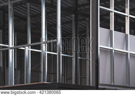 Perspective Side View Of Steel Wall Structure On Upper Floors Of Office Building Inside Of Incomplet
