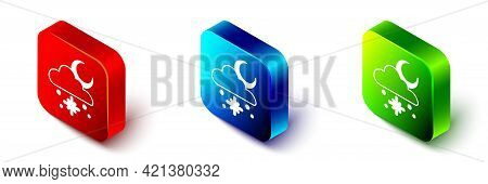 Isometric Cloud With Snow And Sun Icon Isolated On White Background. Cloud With Snowflakes. Single W