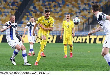 Kyiv, Ukraine - March 28, 2021: Roman Yaremchuk Of Ukraine (c) Kicks A Ball During The Fifa World Cu