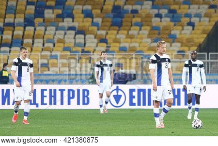 Kyiv, Ukraine - March 28, 2021: Finnish Players React After Missed A Goal During The Fifa World Cup