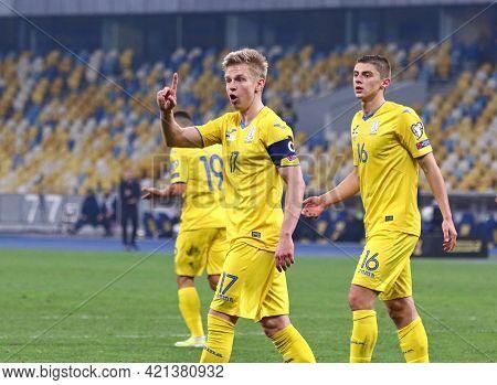 Kyiv, Ukraine - March 28, 2021: Emotions Of Ukrainian Players Oleksandr Zinchenko And Vitaliy Mykole