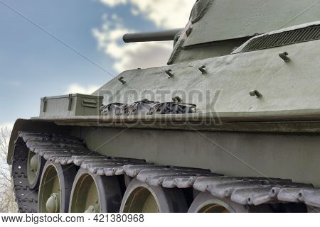 Soviet Tank T-34 From Wwii Period. Surgut, Russia - 17, May 2021.