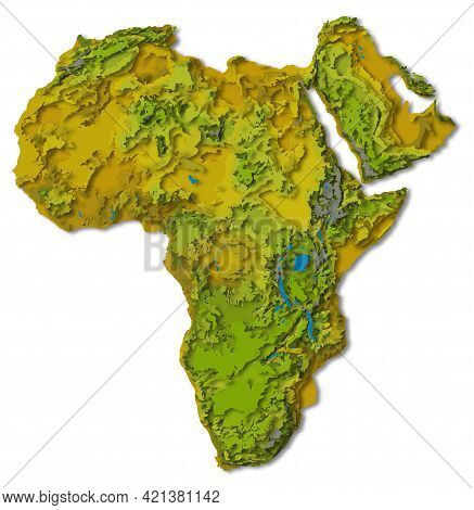 Africa Continent, Detailed Papercut Layered Map With Shadows, Isolated On White Background. Elements