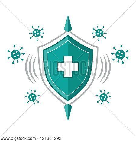 Immune System Icon. Human Immunity. Medical Protective Shield. Immunization, Antiviral Preventive Co
