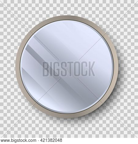 Realistic Round Mirror With Reflection On Glass. Geometrical Mirror With Frame Circle Shape. Reflect