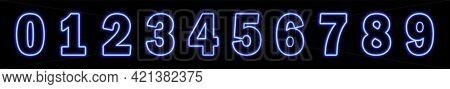 Neon Blue Number 9 On Black Background. Learning Numbers, Serial Number, Price, Place. Vector Illust