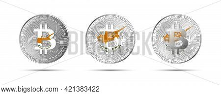 Three Bitcoin Crypto Coins With The Flag Of Cyprus. Money Of The Future. Modern Cryptocurrency Vecto
