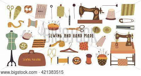 Set Of Elements For Hand Made And Sewing. Needle And Thread, Scissors And Thimble, Sewing Machine An