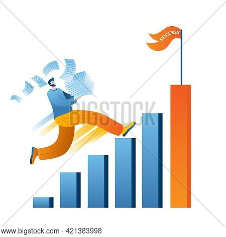 A Man With Office Papers Runs Up The Career Ladder To Success. The Concept Of A Vector Illustration