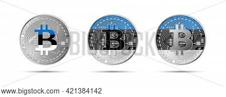 Three Bitcoin Crypto Coins With The Flag Of Estonia. Money Of The Future. Modern Cryptocurrency Vect