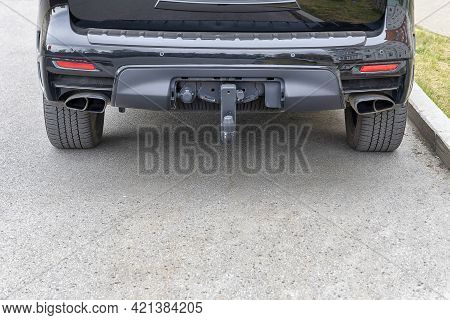 Tow Hitch For Towing A Trailer Of Suv. Day, Horisontalshot Front View