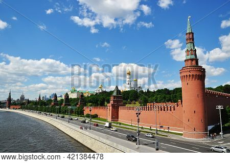 Moscow Kremlin. Kremlin Embankment In Spring. May 22, 2021 Russia, Moscow.