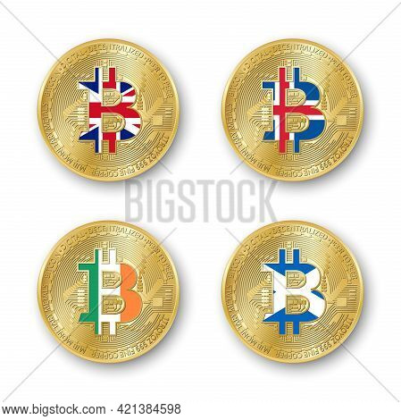 Four Golden Bitcoin Coins With Flags Of Britain, Iceland, Ireland And Scotland. Vector Cryptocurrenc
