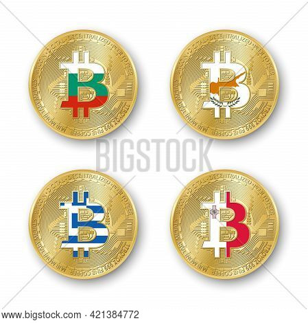 Four Golden Bitcoin Coins With Flags Of Bulgaria, Cyprus, Greece And Malta. Vector Cryptocurrency Ic
