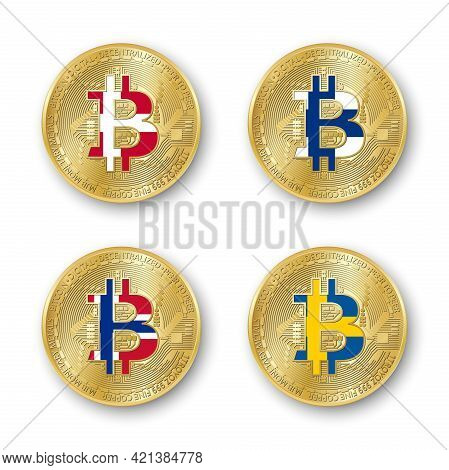 Four Golden Bitcoin Coins With Flags Of Denmark, Finland, Norway And Sweden. Vector Cryptocurrency I