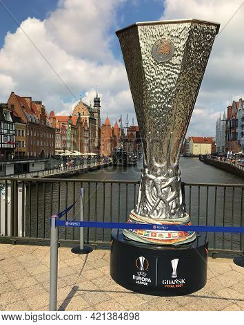 Gdansk, Poland - 22Nd May 2021: Uefa Europa League Trophy In Gdansk Poland 2021.