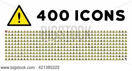 400 Accident Warning Icons In Flat Style. 400 Accident Warning Icons Is A Vector Icon Set Of Danger,