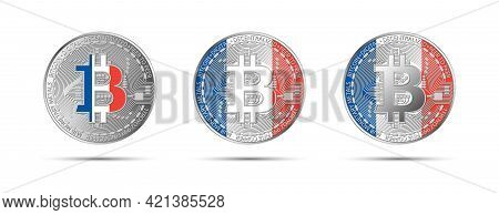 Three Bitcoin Crypto Coins With Flag Of France. Money Of The Future. Modern Cryptocurrency Vector Il