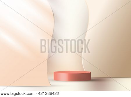 3d Realistic Elegant Display Brown Cylinder Pedestal Podium On Beige Color Wave Liquid Shape Decorat