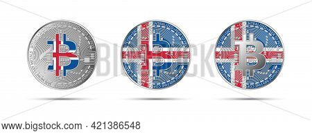 Three Bitcoin Crypto Coins With The Flag Of Iceland. Money Of The Future. Modern Cryptocurrency Vect
