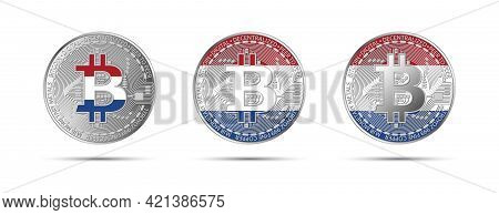 Three Bitcoin Crypto Coins With The Flag Of Holland. Money Of The Future. Modern Cryptocurrency Vect