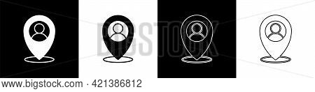 Set Map Marker With A Silhouette Of A Person Icon Isolated On Black And White Background. Gps Locati